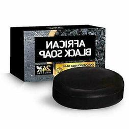 100% Organic African Black Soap Face & Body Bar Moisturizes,