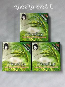 3 pk - Jam Whitening  Acne Thai Rice Milk Soap Bar Nature He