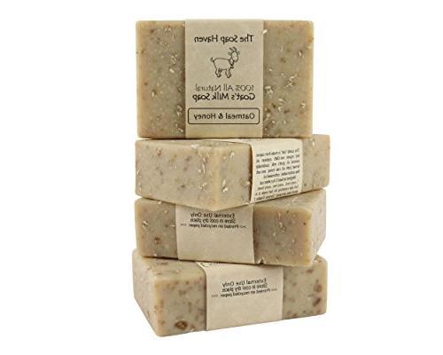 4 Bars of All Natural Oatmeal & Honey, Fresh Goat Milk Soap