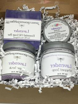 Lavender Bath Gift Spa set Bar Soap Whipped Soap Sugar Scrub