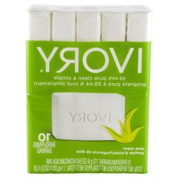 Lot 6 Packs Ivory Aloe Bar Soap Bath Size, 10 ct Each