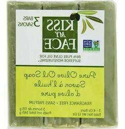 Kiss My Face Pure Olive Oil Bar Soap  - Three 4 oz Bars, 12