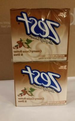 Two - 3 Pack Zest Bar Soap, Creamy Cocoa Butter 4oz each bar